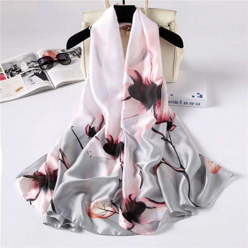 RUNMEIFA 2019 New Fashion Spring/Summer Women Flower Printing Silk Scarf Shawls Soft Female Wraps Beach Sunscreen Hijab