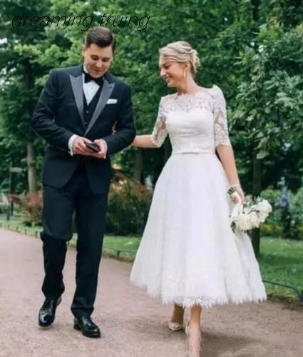 Vintage 1950s Lace Wedding Dresses For Bride Short Tea