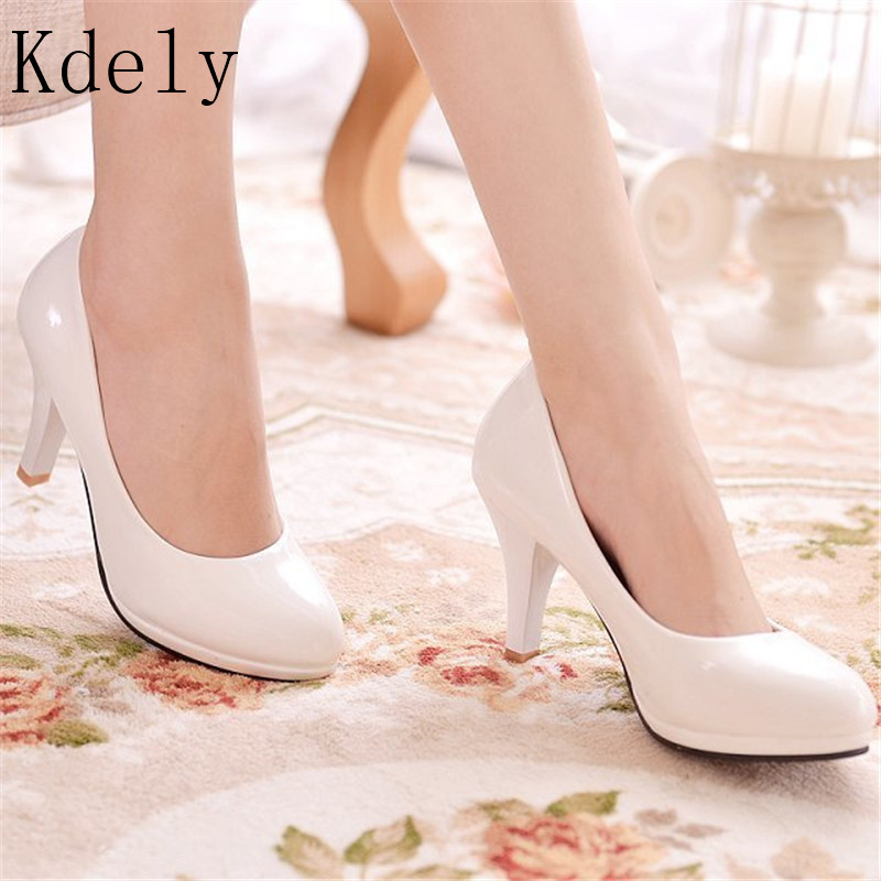 New Women Pumps Shoes Women PU Leather Shallow Slip-On Round Toe High Heels Shoes Wedding Party Derss Shoes Mujer Size 34-42