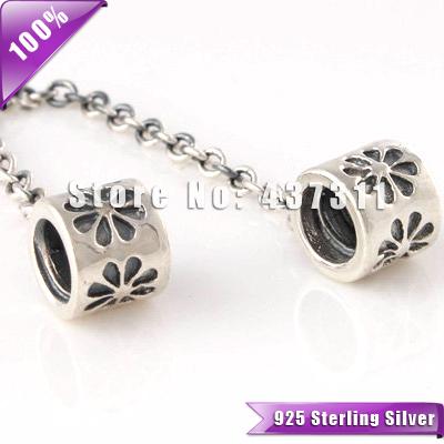 FLOR CADEIA 925 Sterling Silver Duplo Fecho de SEGURANÇA com Neve Stopper Beads Ligação daisy Segurança fit Europeu Pulseiras SF202