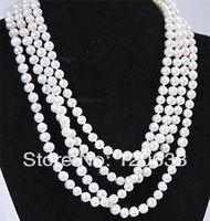 lady's gift women's jewelry Super long 7 8mm White Akoya Cultured Pearl Necklace 80'' Silver hook wholesale shipping Free