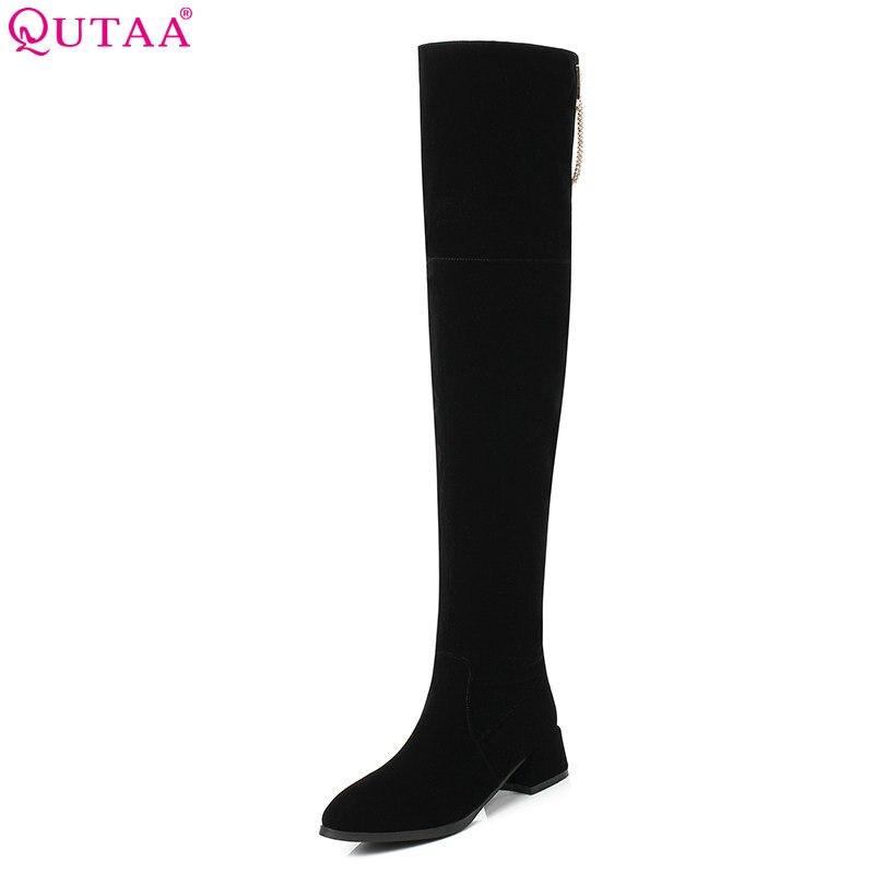 купить QUTAA 2019 Elegant Women Over The Knee High Boots Platform All Match Square Heel Winter Boots Women Boots Big Size 34-43 онлайн