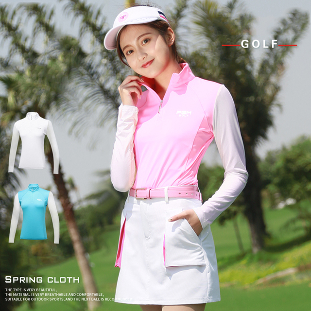 Golf Shirt Long Sleeve Golf Shirts Women Tshirt 2018 Sports Wear Sun Protection Clothing Bottoming High Colla Korean Polo Shirt 1
