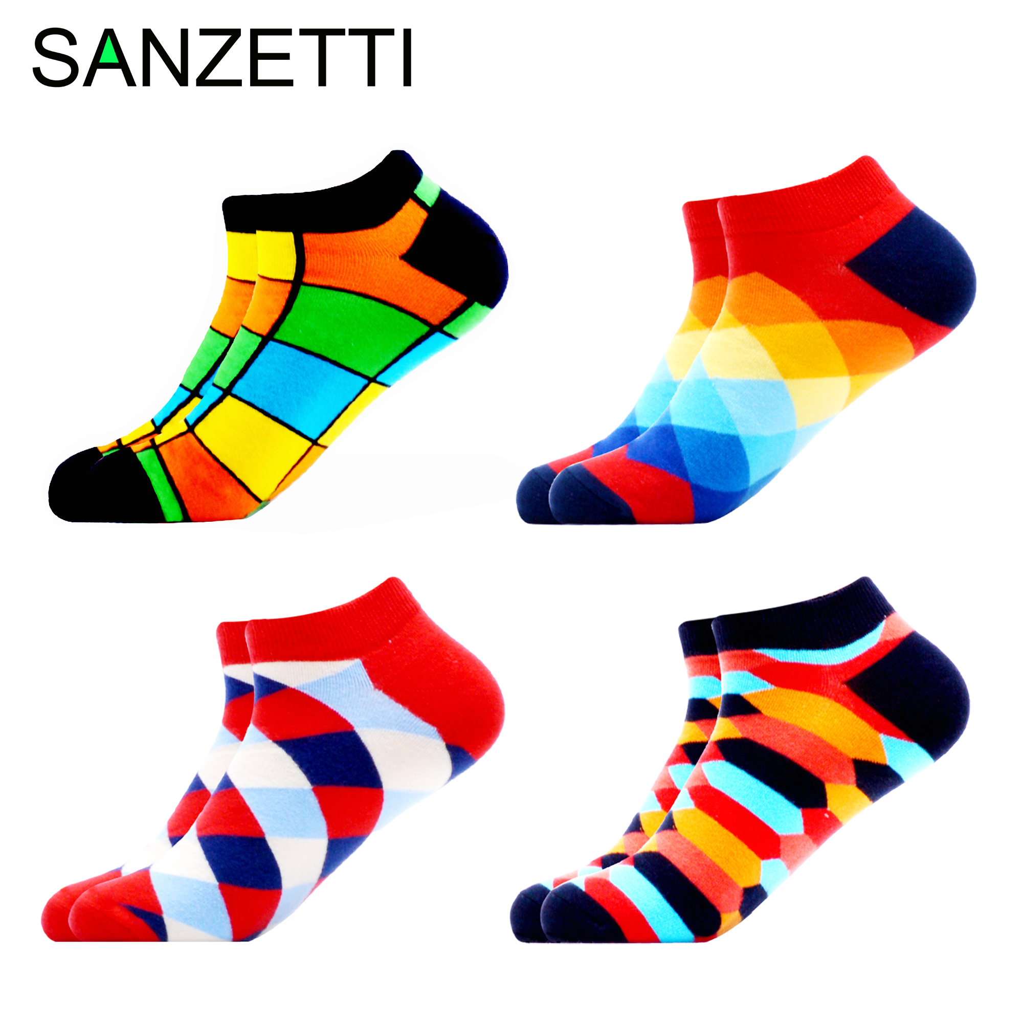 SANZETTI Men's Colorful Happy Funny Socks Brand Quality Combed Cotton Comfortable Socks Plaid Stripes Animal Fruit Pattern Socks