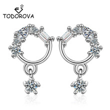 Todorova Korean Fashion Shiny Cubic Zircon Round Circle Stud Earrings for Women Wedding Jewelry Pendientes Brincos oorbellen