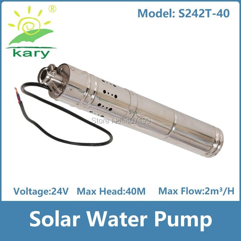 24 v dc brushless vis en acier inoxydable solaire machine de pompage de l'eau pour puits profond submersible prix à la pompe S242T-40