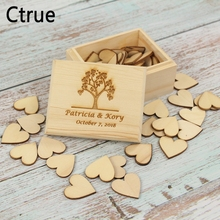 Customized Your Names Date Engrave Wood Memory box with 50pc love heart Personalized Gift Rustic Wedding Ring Bearer Box