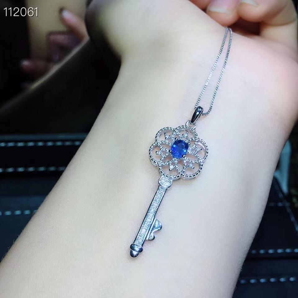 Antique belle clé S925 argent naturel bleu saphir bague pendentif pierre précieuse naturelle bijoux ensemble femme fête cadeau - 6