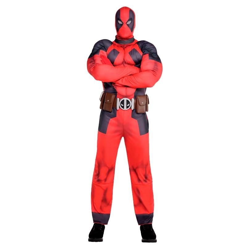 Súper impresionante adultos Deluxe músculo Deadpool Marvel superhéroe cómico traje a la venta mejor opción para comedia tiempo de Halloween
