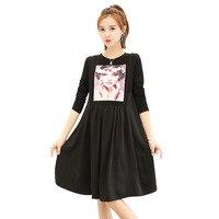 Autumn Black Printed Korean Maternity Dresses Pregnancy Clothes Long Sleeve Vestido Lactancia Robe Grossesse Shooting Photo