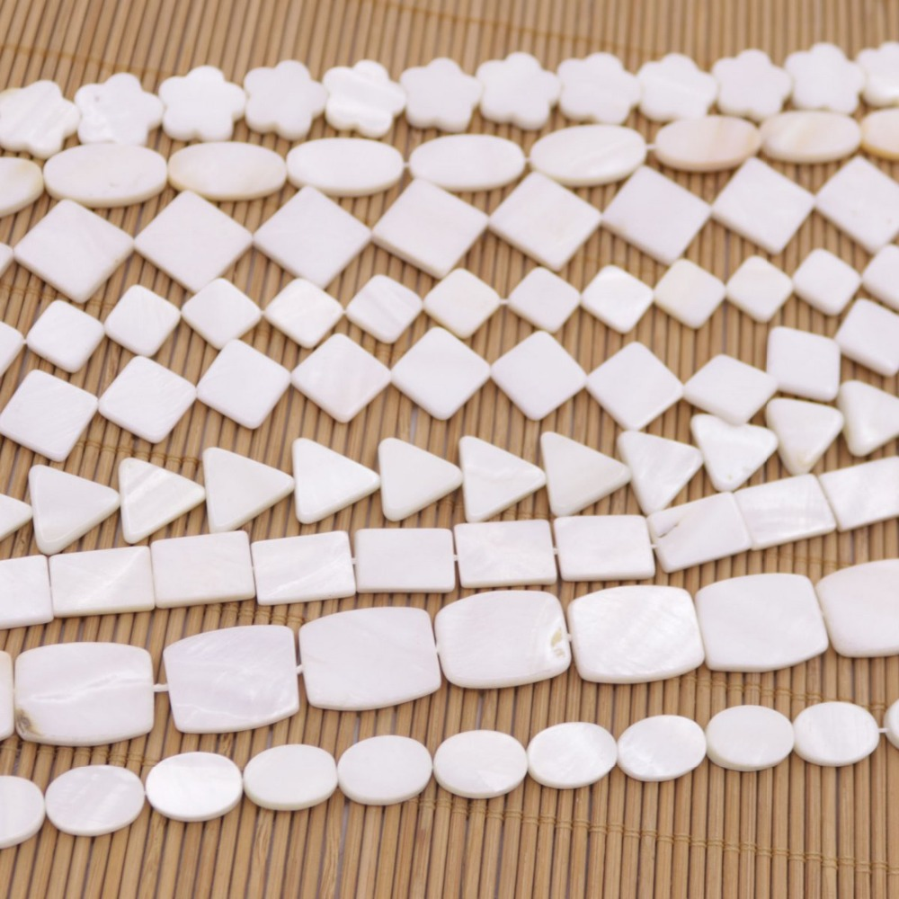 "Купить с кэшбэком 10-20mm Natural White Mother of Pearl Shell Loose Beads 15"" long Choose"