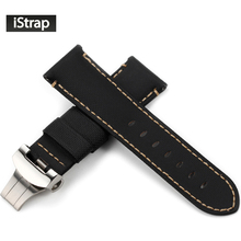 iStrap 24mm Kevlar Nylon Leather Watch Band Strap Bracelet Belt For Panerai With 22mm Deployment Buckle
