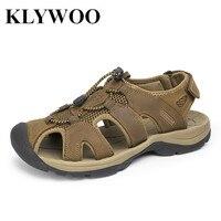 Plus Size 38 47 Men Sandals Genuine Leather Fashion Summer Shoes Men Slippers Breathable Men S