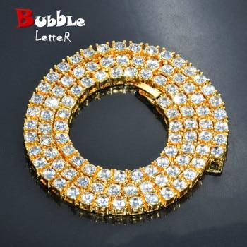 """الرجال الهيب هوب الذهب اللون 5 مللي متر حجر الراين سبيكة تنس رابط حلية مجوهرات بسيطة قلادة الموضة المختنق سلسلة طويلة 16 """"18"""" 20"""""""