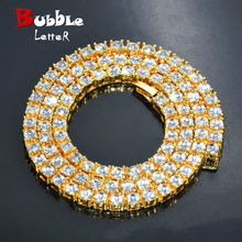 "Men's Hip Hop Gold Finish 5mm Rhinestone Tennis Link Charm Punk Jewelry Fashion Necklace Choker Long Chain 16"" 18"" 20""(China)"