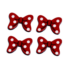 LF 30Pcs Red Bowknot Acrylic Decoration Crafts Beads Flatback Cabochon Scrapbook DIY For Clothes Embellishments Accessories