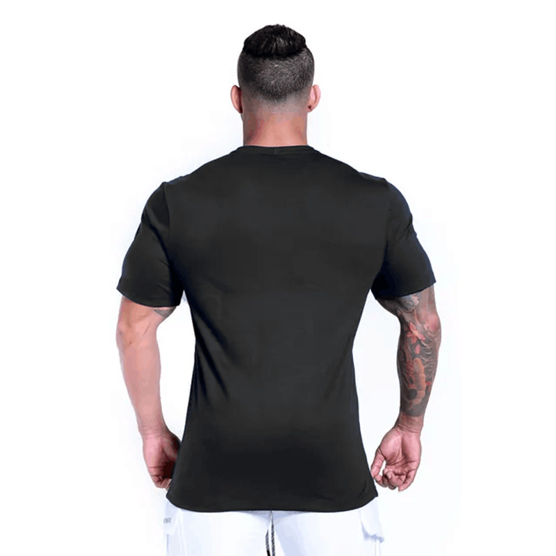 FRMARO Men Casual Fashion Print T shirt Gyms Fitness Bodybuilding Workout Cotton t shirt 2019 New Male Tee Tops Clothing M XXL in T Shirts from Men 39 s Clothing
