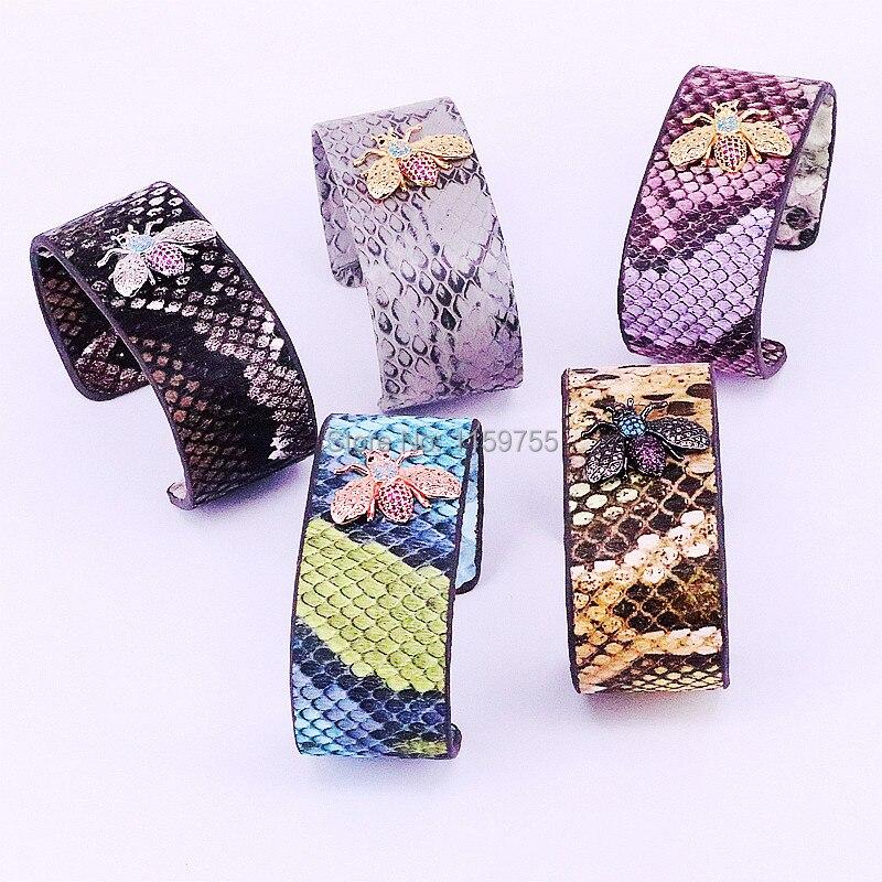 Мода 4 шт. микро проложить циркония насекомых шарм и нескольких цветов кожи браслет для Для женщин