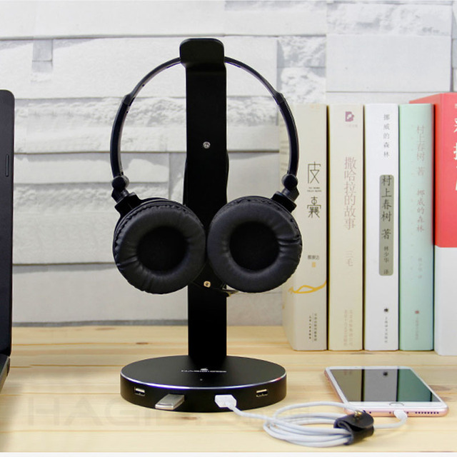 Hagibis Headset Headphone stand Holder With 4 Ports of Usb 3.0 Hub Display Audio Port For Bracket and Headphone Cable Storage Earphone Accessories