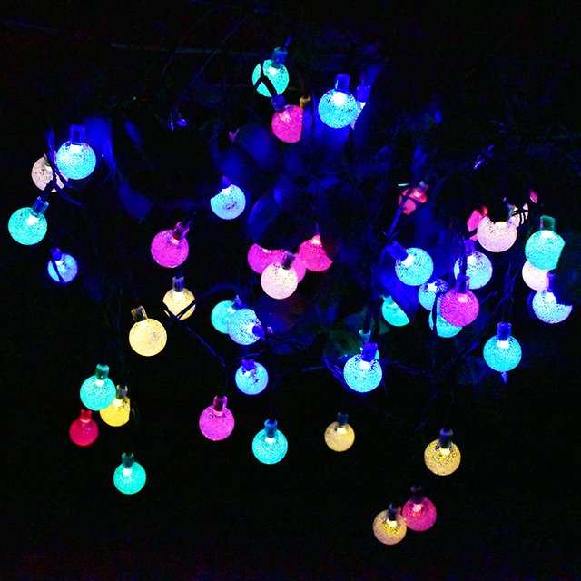 Solar outdoor string lights 30 led colorful crystal ball solar globe solar outdoor string lights 30 led colorful crystal ball solar globe fairy lights christmas tree fence aloadofball Gallery