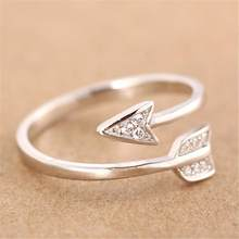 Unisex Rhinestone Arrow Jewelry Party Club Open Ring Adjustable Couple Accessory gift(China)