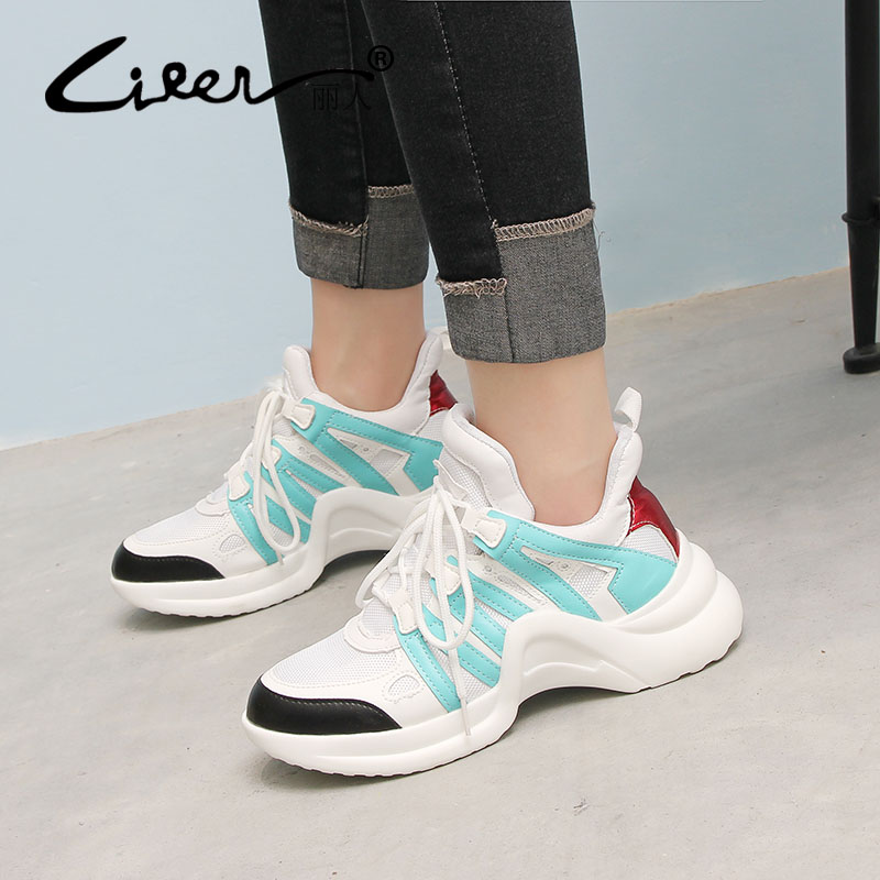 Liren White Sneakers Women 2018 Platform Shoes Womens Spring Fashion Black Sneakers Casual Lace Up Shoes Ladies Shoe Woman New