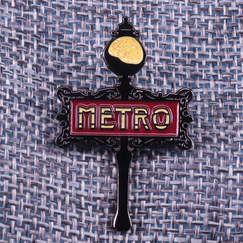 Paris metro enamel pin French Metropolitain sign lapel badge glitter black unique brooch modern Francophile gift