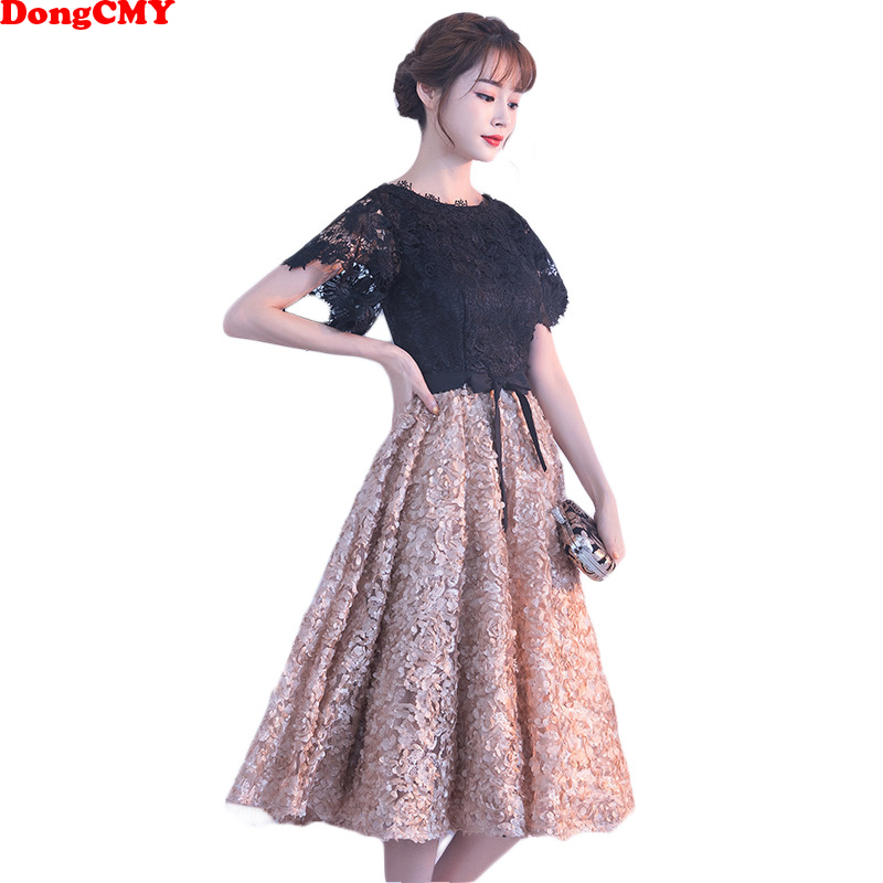 DongCMY New 2019 Short Party   Cocktail     Dresses   Vestidos Flower Elegant Fashion Mini Gown