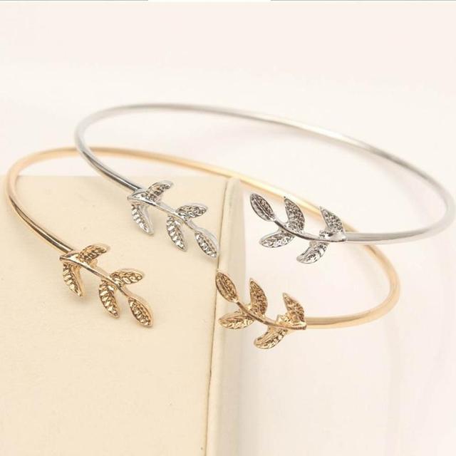 GEMIXI Women Stylish Leaves Cuff Women Bracelet Delicate Leaf Open Bangle Bracel