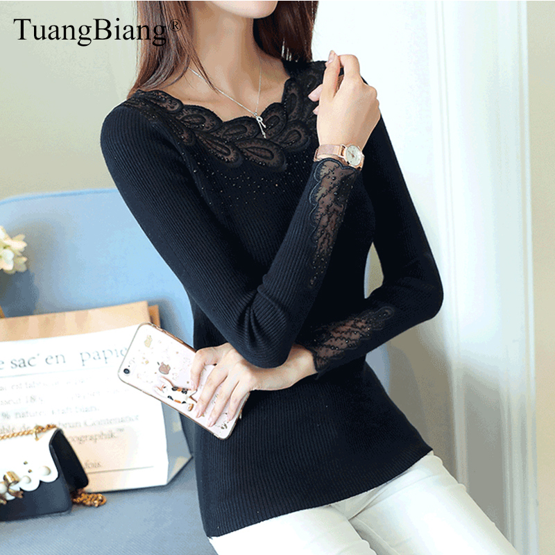 2019 Lady Lace O-Neck Fashion Diamonds Knit Jumpers Elastic Autumn Basic Women Hollow Out Pullovers Knitted Long Sleeve Sweaters