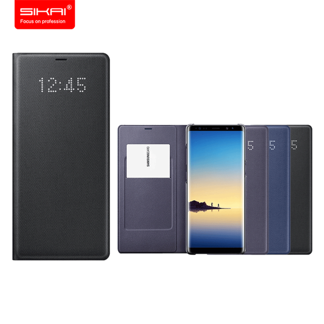 reputable site d374a 26c29 US $61.75 5% OFF|SIKAI 100% Original LED Flip Wallet for Samsung Note 8  Smart Leather Case for Samsung Galaxy Note 8 LED Cover for Samsung Note8-in  ...