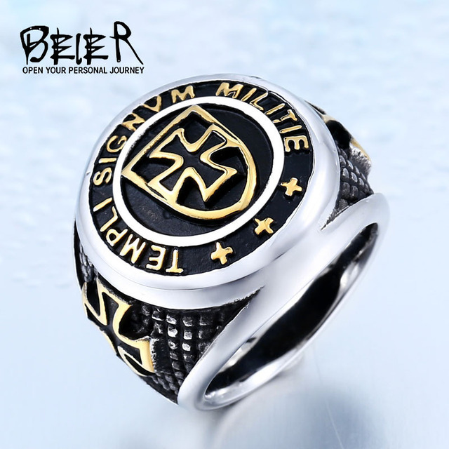 BEIER New Stainless Steel Templi Signvm Militie Ring For Man Personality Cross K