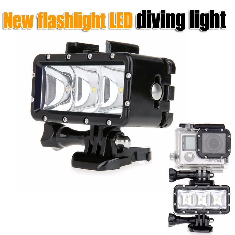 Prix pour GoPro lampe de poche lampe Sous-Marine Plongée Étanche LED Flash Vidéo Light Mount Pour Go Pro Hero 4/3 +, SJCAM SJ4000 AEE