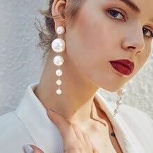 Pendientes largos de perlas de imitación IPARAM, pendientes de perlas redondas para boda, pendientes coreanos de moda