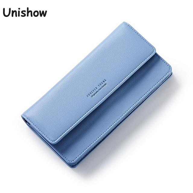 Unishow Simple Women Wallet Long Brand Female Purse Fashion Big Capacity Wallet Women Luxury Design Pu Leather Purse Lady Clutch