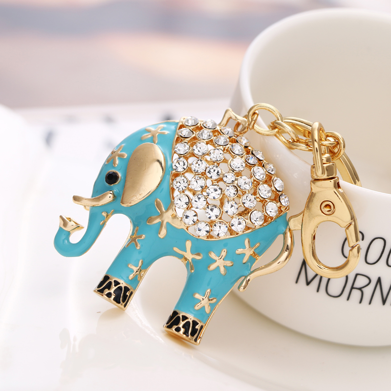 2018 NoEnName_Null New cute sky blue elephant wallet keychain birthday party gift free shipping
