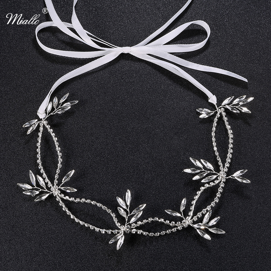 Miallo Newest Wedding Crystal Headband Hair Chain for Women Handmade Bridal Hair Vine Jewelry for Bride Tiaras and Crowns red gorgeous ancient chinese wedding hair tiaras for bride and groom or no 1 scholar officer hat
