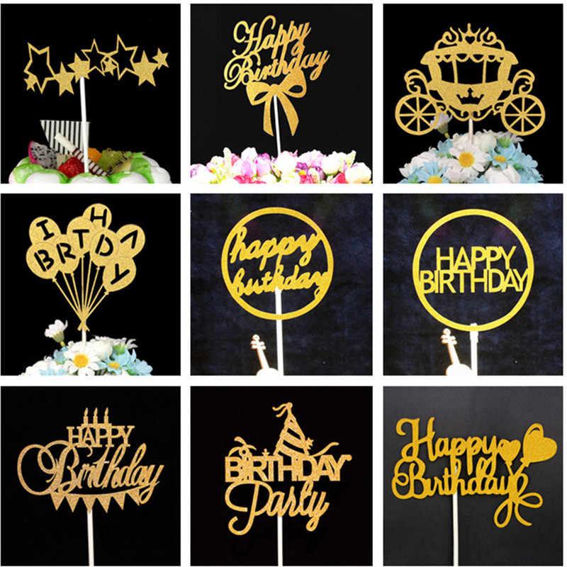 Happy украшение для именинного торта вечерние украшения торта украшения инструменты душа ребенка День рождения украшения взрослые золотой торт топперы