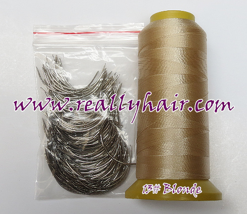 1 Roll Blonde Hair Weaving Thread/ Nylon Thread And 150pcs Weaving Needles C Type Needles 3 Types Weaving Needle As Gift