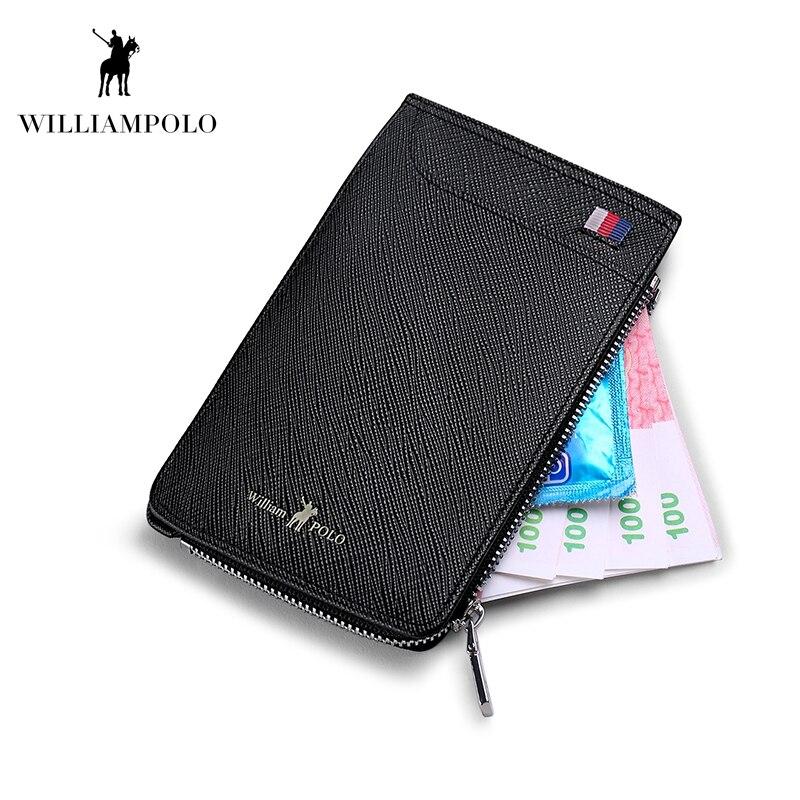 WILLIAMPOLO mode porte-carte en cuir véritable carte de crédit portefeuille avec fermeture à glissière monnaie poche hommes court portefeuille PL185159