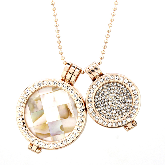 Luxury Jewelry large shell and small full of crystal  coin necklace set double coin my coin necklace for Women DCN0003