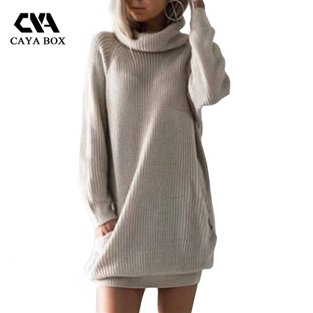 2018 Autumn And Winter Turtleneck Long Jumper Dresses Pocket Mini Long Sleeve Women Sweater Dresses Kintted Laides Clothes