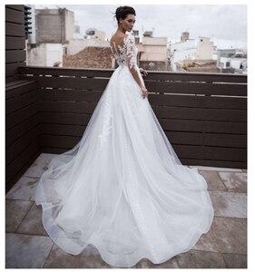 Image 3 - LORIE 2019 Beach Wedding Dress Scoop Appliqued Detachable Train Wedding Gown Half Sleeves Boho Short skirt Bride Dress