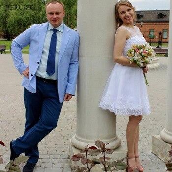 JIERUIZE pearls short Wedding Dresses lace appliques Lace Up Back beach short Wedding Gowns Bride Dresses robe de mariee