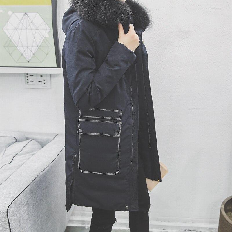 The 2016 winter men's 200 grams of true raccoon fur collar male white eiderdown jacket coat jacket men thickening
