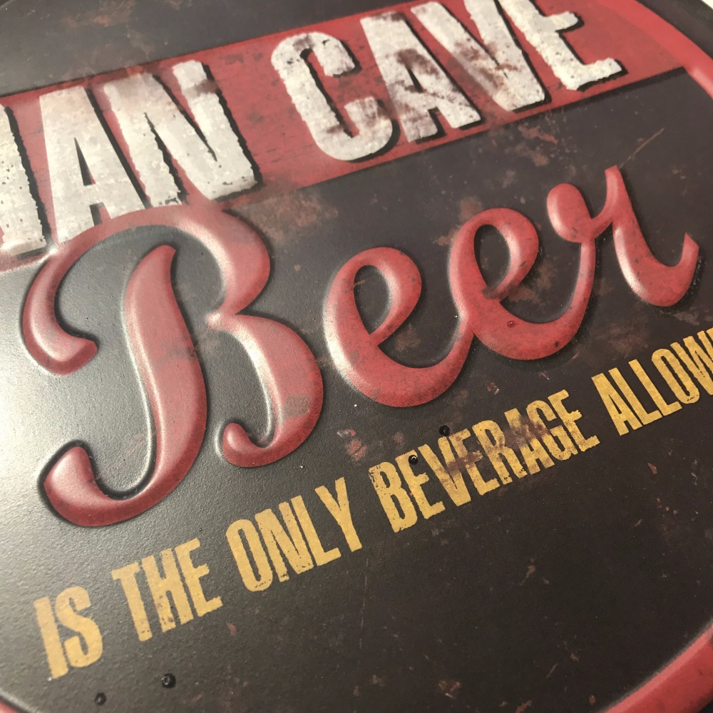 35cm Okrogel Man Cave Beer Steklenica Cap Tin Sign Bar pub home Wall - Dekor za dom - Fotografija 2