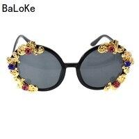 Барокко Круглый Rhinestone Солнцезащитные очки для женщин с металлическим цветком Для женщин Брендовая дизайнерская обувь летние Роскошные Кри...