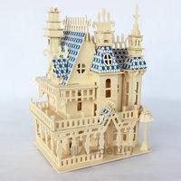 Puzzle di legno 3D puzzle di legno in miniatura dollhouse casa di bambola di Legno Casa 4 rooms Villa kit, giocare a casa