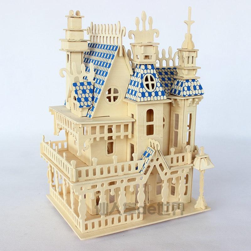 Puzzles 3D bois bois puzzle miniature maison de poupée maison de poupée bois maison 4 pièces Villa kit, maison de jeu