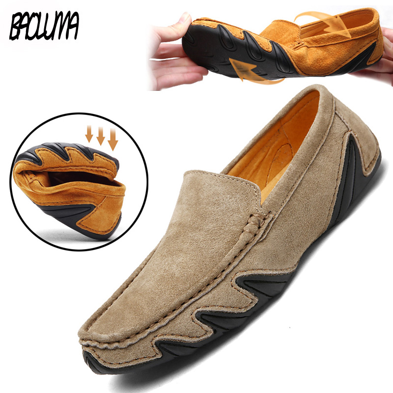 2019 New Brand Quality Men Loafers Leather Breathable Men's Casual Shoes Men Driving Oxfords Shoe Flats Moccasins Shoes
